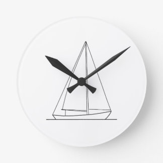 Sloop Sail Plan Sailing Logo Round Clock