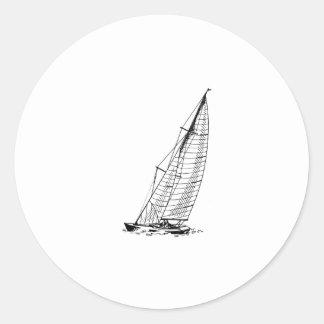Sloop Sailboat Classic Round Sticker