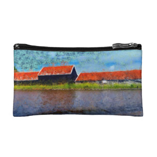 Sloping red roofs cosmetic bag
