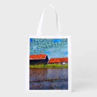 Sloping red roofs grocery bag