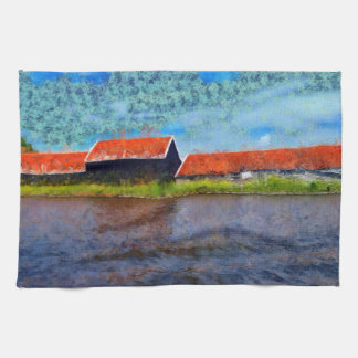Sloping red roofs hand towel