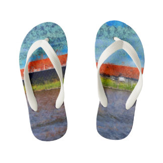 Sloping red roofs kid's flip flops