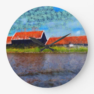 Sloping red roofs large clock