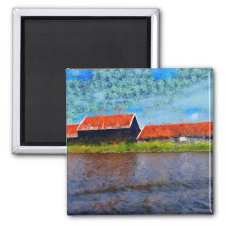 Sloping red roofs magnet
