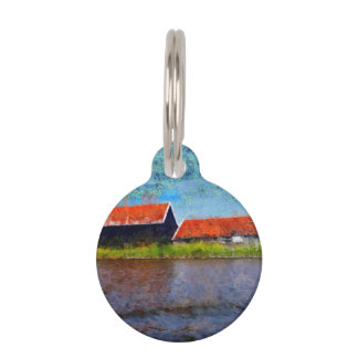 Sloping red roofs pet ID tag