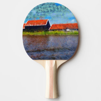 Sloping red roofs ping pong paddle