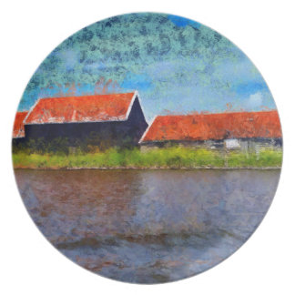 Sloping red roofs plate