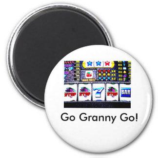 Slot machine, Go Granny Go! 2 Inch Round Magnet