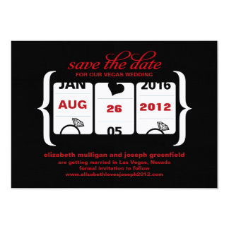 "Slot Machine Save the Date - Wedding 5"" X 7"" Invitation Card"