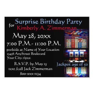 "Slot Machine Surprise Birthday Party 5"" X 7"" Invitation Card"