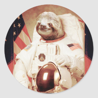 Sloth astronaut-sloth-space sloth-sloth gifts classic round sticker