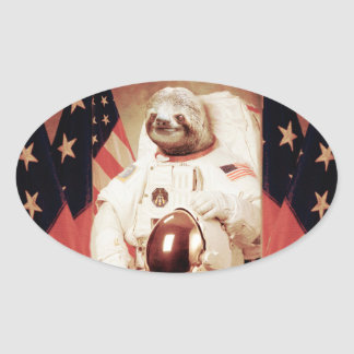 Sloth astronaut-sloth-space sloth-sloth gifts oval sticker