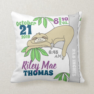 Sloth Baby Birth Stats Throw Pillow
