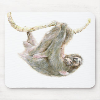 """Sloth, baby with mum """"Big Hugs"""" Mouse Pad"""