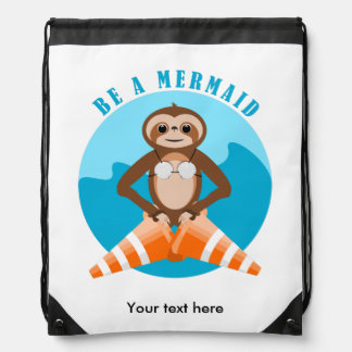 Sloth Be A Mermaid Drawstring Bag