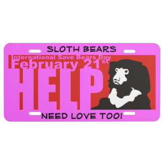 SLOTH BEARS NEED LOVE TOO LICENSE PLATE