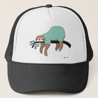 Sloth being lazy trucker hat
