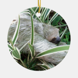 sloth ceramic ornament