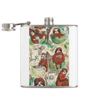 sloth coffee hip flask