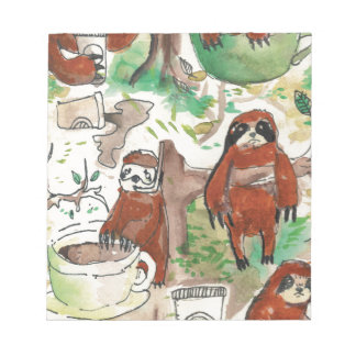 sloth coffee notepad