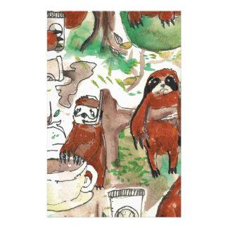 sloth coffee stationery