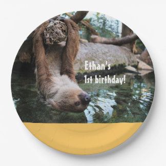 Sloth Customizable Birthday Paper Plates. Paper Plate