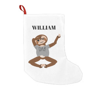Sloth Dabbing Small Christmas Stocking