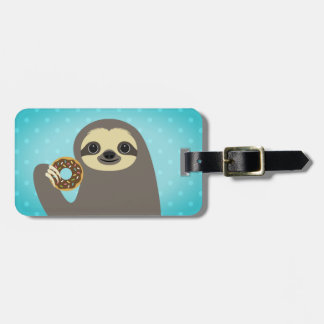 Sloth Eating Chocolate Donut with Sprinkles Tag