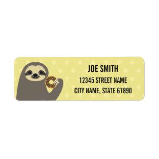 Sloth Eating Donut Yellow Return Address Label