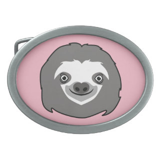 Sloth Face Oval Belt Buckle