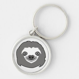 Sloth Face Silver-Colored Round Keychain