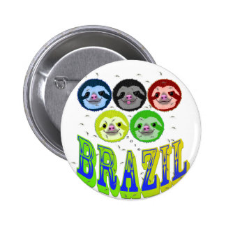sloth faces brazil 2016 with mosquitos 2 inch round button