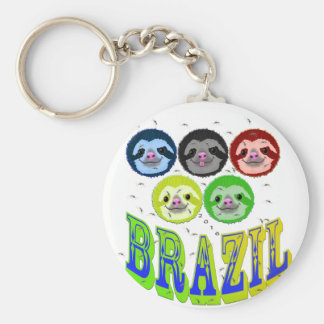 sloth faces brazil 2016 with mosquitos basic round button keychain