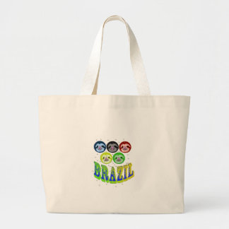 sloth faces brazil 2016 with mosquitos large tote bag