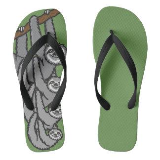 Sloth family flip flops