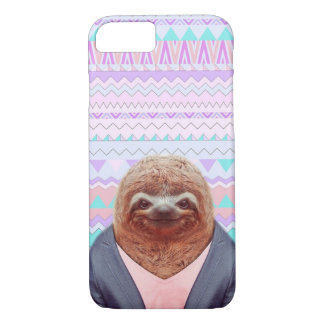 Sloth Funny with Paster Aztec Tribal iPhone 7 Case