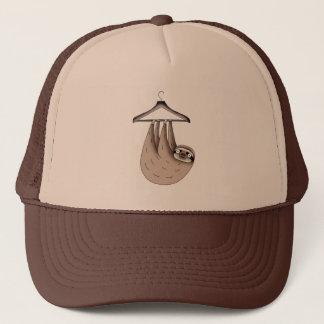 sloth hanging on hanger trucker hat