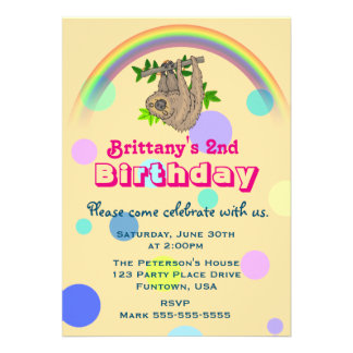 "Sloth Hanging Upside Down Childs Birthday Party 5"" X 7"" Invitation Card"