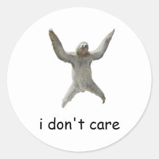 sloth - i don t care round sticker