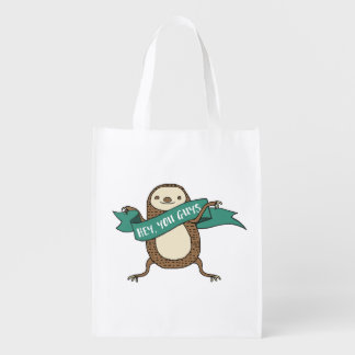 "Sloth Illustration ""Hey You Guys"" Reusable Grocery Bag"