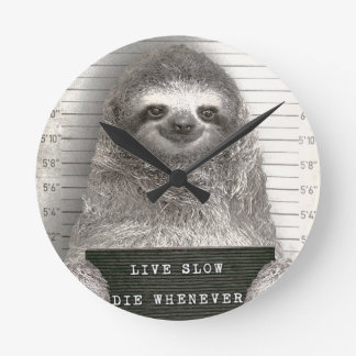Sloth in a Mugshot Round Clock