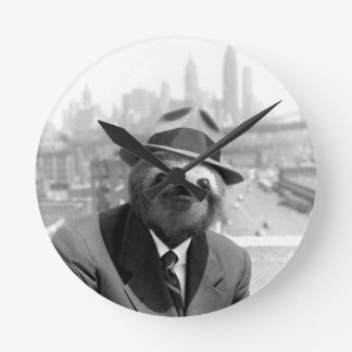Sloth in New York Round Clock