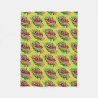 sloth in the tree fleece blanket