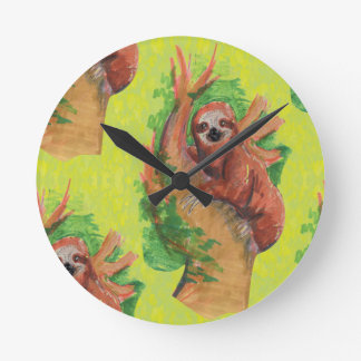 sloth in the tree round clock