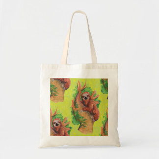 sloth in the tree tote bag
