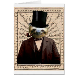 Sloth Man Victorian Steampunk Anthropomorphic Card