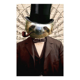 Sloth Man Victorian Steampunk Anthropomorphic Stationery Design
