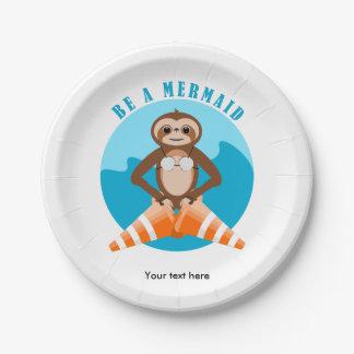 Sloth Mermaid Traffic Cone 7 Inch Paper Plate