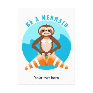 Sloth Mermaid Traffic Cone Canvas Print