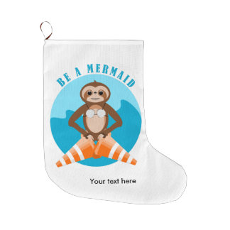 Sloth Mermaid Traffic Cone Large Christmas Stocking